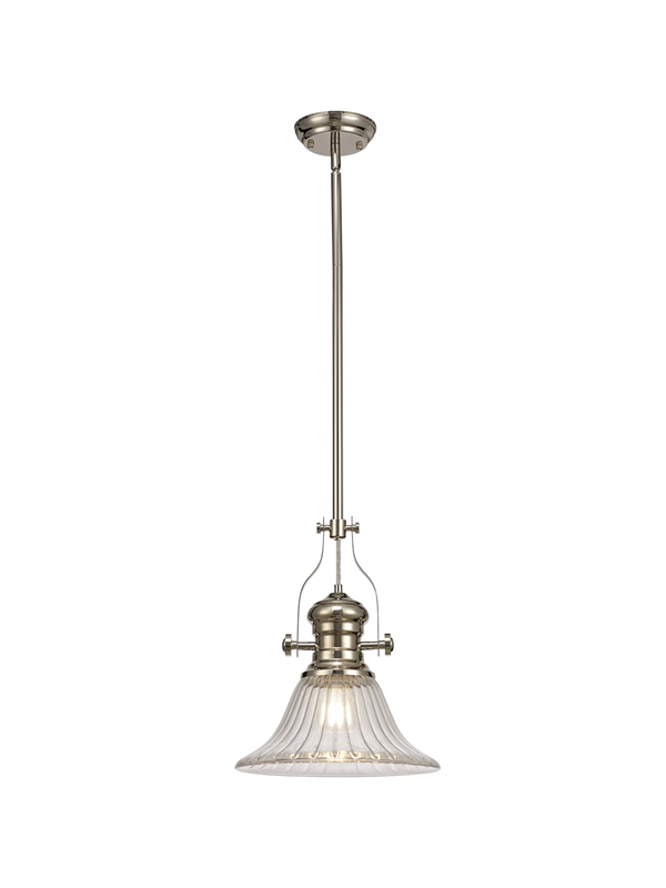Lichfield Lighting Lime 1 Light Pendant E27 With 30cm Bell Glass Shade, Polished Nickel/Clear photo 1