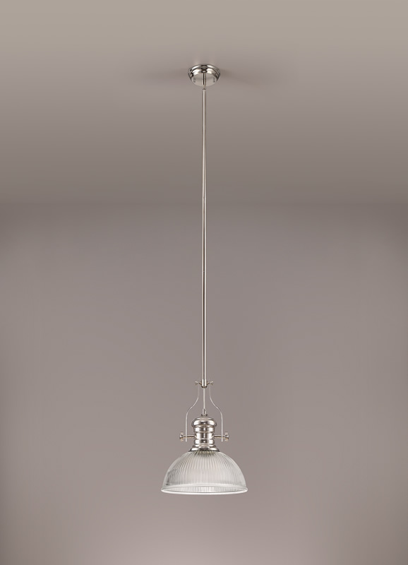 Lichfield Lighting Lime 1 Light Pendant E27 With 30cm Dome Glass Shade, Polished Nickel/Clear photo 2