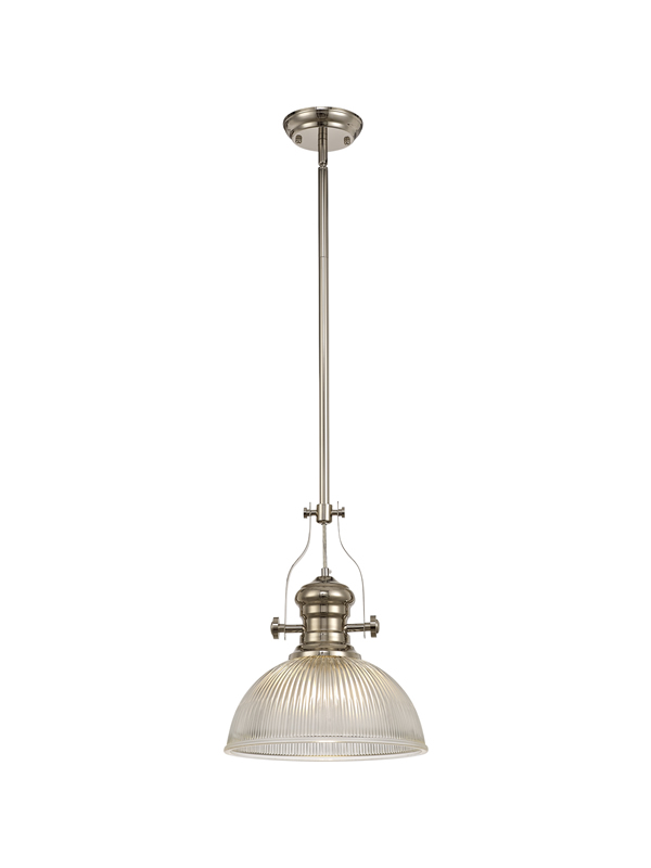 Lichfield Lighting Lime 1 Light Pendant E27 With 30cm Dome Glass Shade, Polished Nickel/Clear photo 1