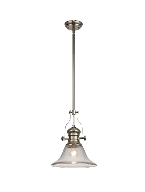 Lichfield Lighting Lime 1 Light Pendant E27 With 30cm Smooth Bell Glass Shade, Polished Nickel/Clear photo 1