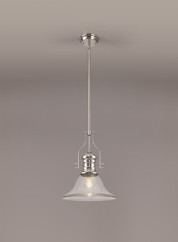 Lichfield Lighting Lime 1 Light Pendant E27 With 30cm Smooth Bell Glass Shade, Polished Nickel/Clear photo 2