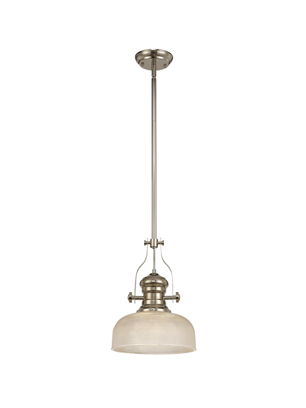 Lichfield Lighting Lime 1 Light Pendant E27 With 26.5cm Prismatic Glass Shade, Polished Nickel/Clear photo 1