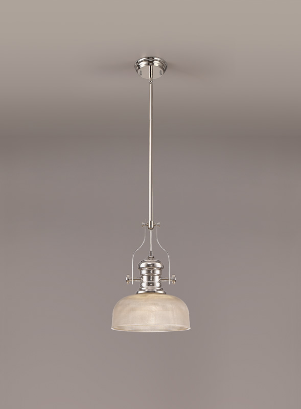 Lichfield Lighting Lime 1 Light Pendant E27 With 26.5cm Prismatic Glass Shade, Polished Nickel/Clear photo 2