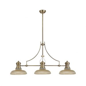 Lichfield Lighting Lime 3 Light Linear Pendant E27 With 30cm Round Glass Shade, Antique Brass, Amber photo 1