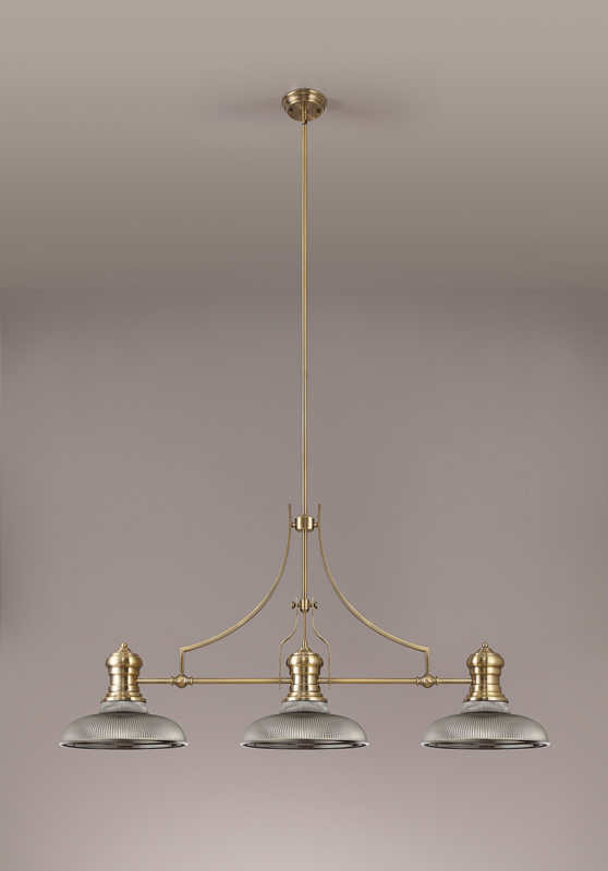 Lichfield Lighting Lime 3 Light Linear Pendant E27 With 30cm Round Glass Shade, Antique Brass, Smoked photo 2