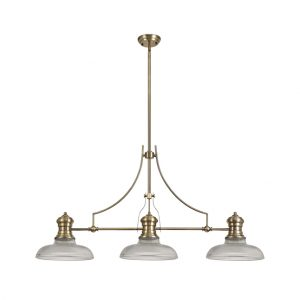 Lichfield Lighting Lime 3 Light Linear Pendant E27 With 30cm Round Glass Shade, Antique Brass, Clear photo 1