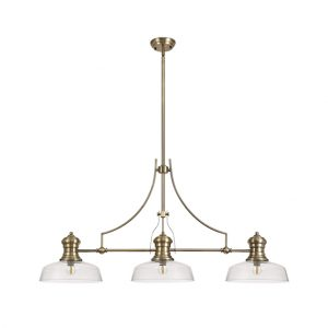 Lichfield Lighting Lime 3 Light Linear Pendant E27 With 30cm Flat Round Glass Shade, Antique Brass, Clear photo 1