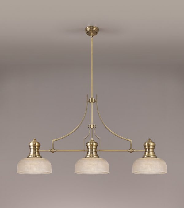 Lichfield Lighting Lime 3 Light Linear Pendant E27 With 26.5cm Prismatic Glass Shade, Antique Brass, Clear photo 2