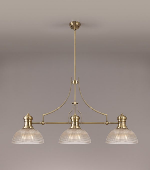 Lichfield Lighting Lime 3 Light Linear Pendant E27 With 30cm Prismatic Glass Shade, Antique Brass, Clear photo 2