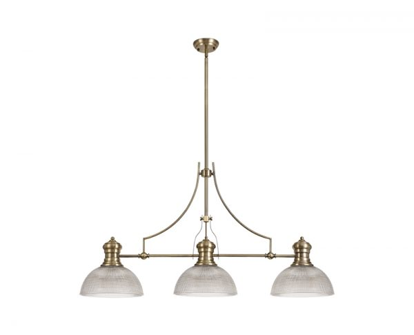 Lichfield Lighting Lime 3 Light Linear Pendant E27 With 30cm Prismatic Glass Shade, Antique Brass, Clear photo 1