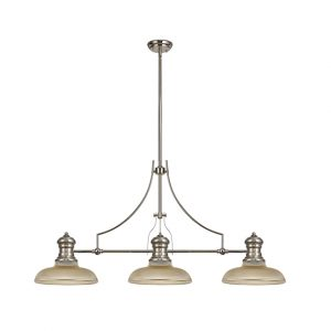 Lichfield Lighting Lime 3 Light Linear Pendant E27 With 30cm Round Glass Shade, Polished Nickel, Amber photo 1