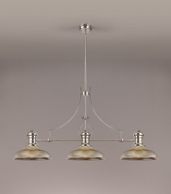 Lichfield Lighting Lime 3 Light Linear Pendant E27 With 30cm Round Glass Shade, Polished Nickel, Smoked photo 2