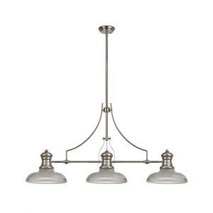 Lichfield Lighting Lime 3 Light Linear Pendant E27 With 30cm Round Glass Shade, Polished Nickel, Clear photo 1