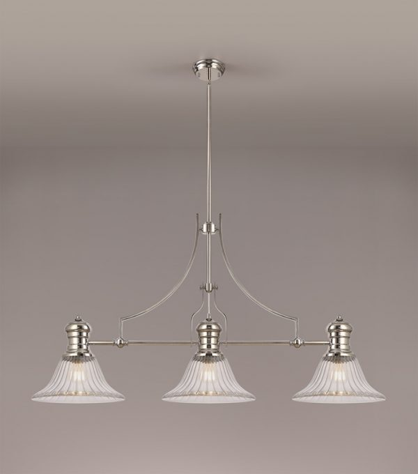 Lichfield Lighting Lime 3 Light Linear Pendant E27 With 30cm Bell Glass Shade, Polished Nickel, Clear photo 2