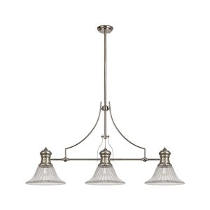 Lichfield Lighting Lime 3 Light Linear Pendant E27 With 30cm Bell Glass Shade, Polished Nickel, Clear photo 1