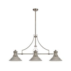 Lichfield Lighting Lime 3 Light Linear Pendant E27 With 30cm Cone Glass Shade, Polished Nickel, Clear photo 1