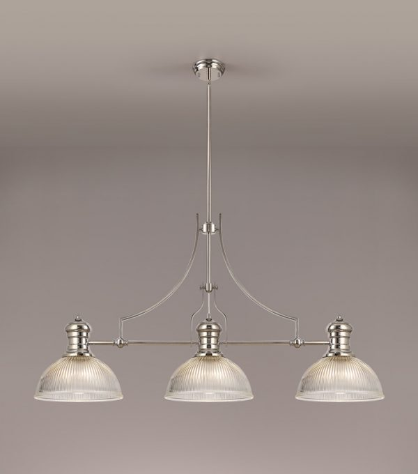 Lichfield Lighting Lime 3 Light Linear Pendant E27 With 30cm Dome Glass Shade, Polished Nickel, Clear photo 2