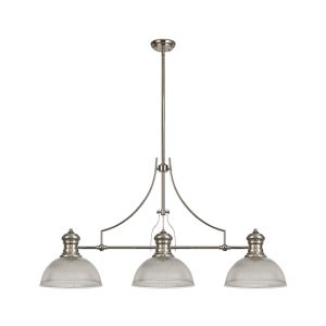 Lichfield Lighting Lime 3 Light Linear Pendant E27 With 30cm Dome Glass Shade, Polished Nickel, Clear photo 1