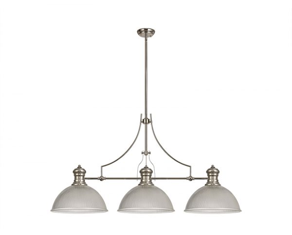 Lichfield Lighting Lime 3 Light Linear Pendant E27 With 38cm Dome Glass Shade, Polished Nickel, Clear photo 1