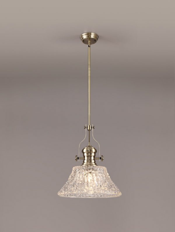 Lichfield Lighting Lime Pendant With 38cm Patterned Round Shade, 1 x E27, Antique Brass/Clear Glass photo 2