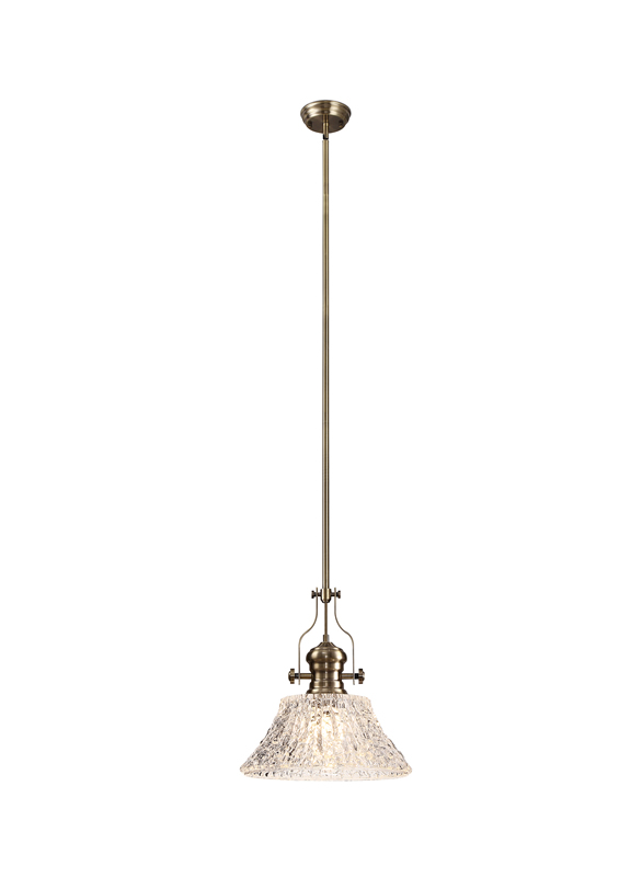 Lichfield Lighting Lime Pendant With 38cm Patterned Round Shade, 1 x E27, Antique Brass/Clear Glass photo 1