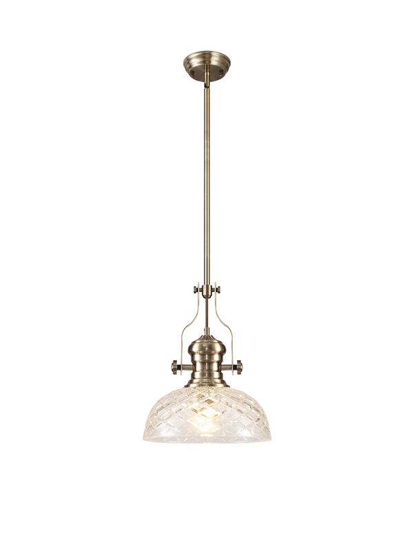 Lichfield Lighting Lime Pendant With 30cm Flat Round Patterned Shade, 1 x E27, Antique Brass/Clear Glass photo 1
