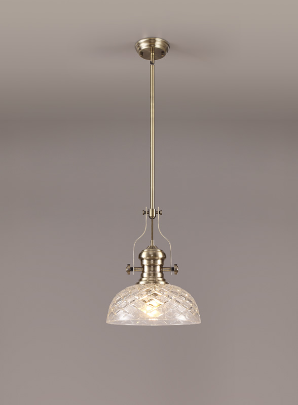 Lichfield Lighting Lime Pendant With 30cm Flat Round Patterned Shade, 1 x E27, Antique Brass/Clear Glass photo 2