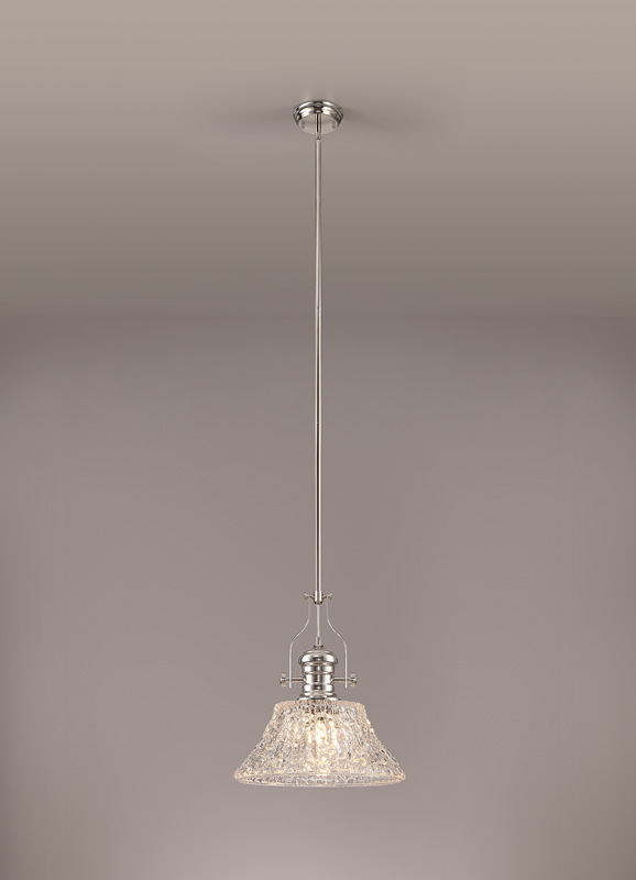Lichfield Lighting Lime Pendant With 38cm Patterned Round Shade, 1 x E27, Polished Nickel/Clear Glass photo 2