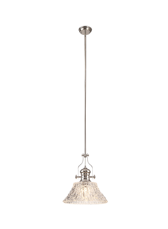 Lichfield Lighting Lime Pendant With 38cm Patterned Round Shade, 1 x E27, Polished Nickel/Clear Glass photo 1