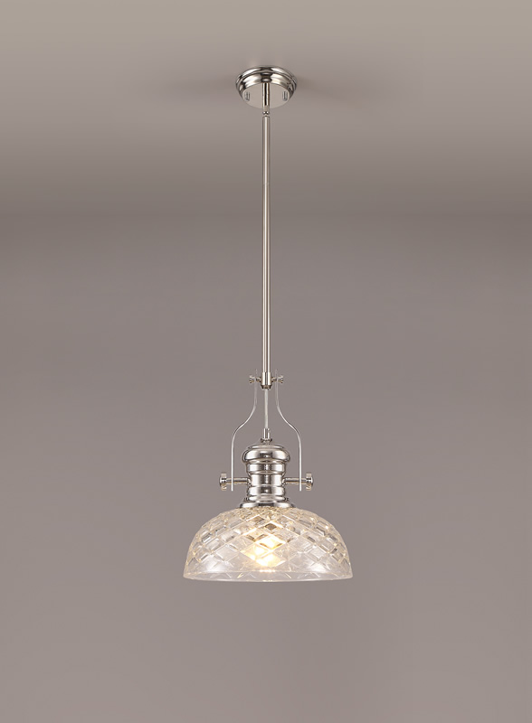Lichfield Lighting Lime Pendant With 30cm Flat Round Patterned Shade, 1 x E27, Polished Nickel/Clear Glass photo 2
