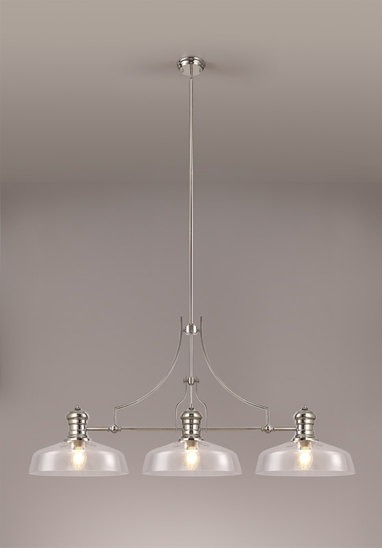 Lichfield Lighting Lime Linear Pendant With 38cm Flat Round Shade, 3 x E27, Polished Nickel/Clear Glass photo 2