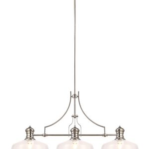 Lichfield Lighting Lime Linear Pendant With 38cm Flat Round Shade, 3 x E27, Polished Nickel/Clear Glass photo 1