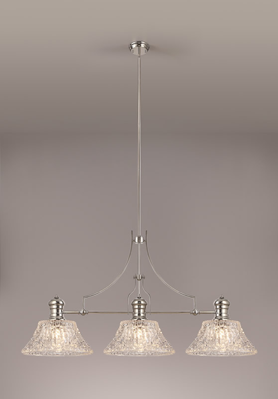 Lichfield Lighting Lime Linear Pendant With 38cm Patterned Round Shade, 3 x E27, Polished Nickel/Clear Glass photo 2