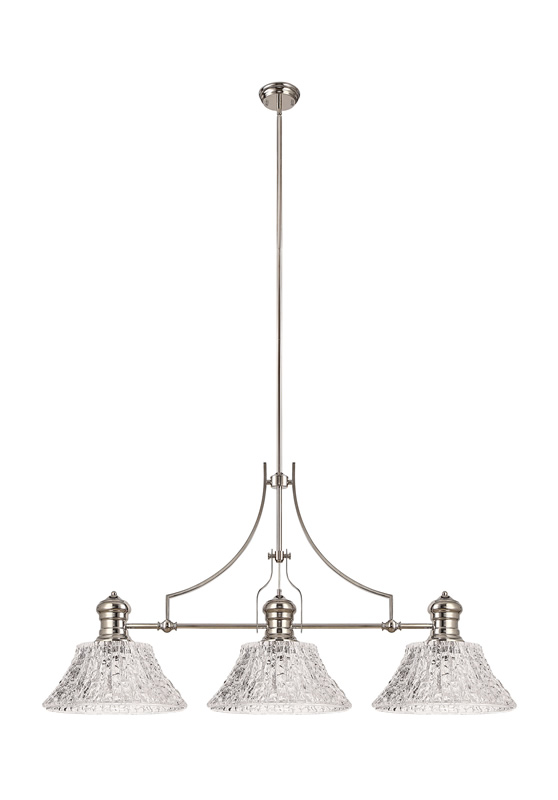 Lichfield Lighting Lime Linear Pendant With 38cm Patterned Round Shade, 3 x E27, Polished Nickel/Clear Glass photo 1