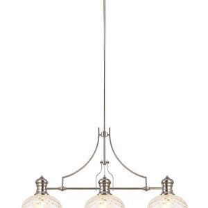 Lichfield Lighting Lime Linear Pendant With 30cm Flat Round Patterned Shade, 3 x E27, Polished Nickel/Clear Glass photo 1