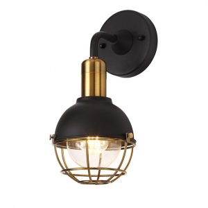 Lichfield Lighting Lomax Wall Lamp, 1 Light E27, IP65, Matt Black/Brushed Bronze, 2yrs Warranty photo 1