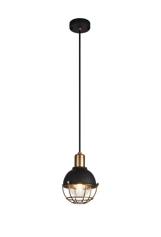 Lichfield Lighting Lomax Pendant, 1 Light E27, IP65, Matt Black/Brushed Bronze, 2yrs Warranty photo 1