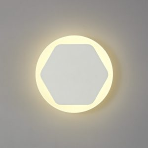 Lichfield Lighting Maxwell Magnetic Base Wall Lamp, 12W LED 3000K 498lm, 15/19cm Horizontal Hexagonal Centre, Sand White/Round Acrylic Frosted Diffuser photo 1