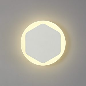 Lichfield Lighting Maxwell Magnetic Base Wall Lamp, 12W LED 3000K 498lm, 15/19cm Vertical Hexagonal Centre, Sand White/Round Acrylic Frosted Diffuser photo 1