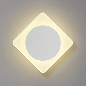 Lichfield Lighting Maxwell Magnetic Base Wall Lamp, 12W LED 3000K 498lm, 15cm Round 19cm Diamond Centre, Sand White/Acrylic Frosted Diffuser photo 1