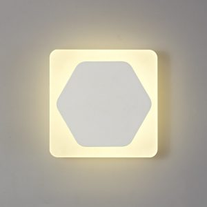 Lichfield Lighting Maxwell Magnetic Base Wall Lamp, 12W LED 3000K 498lm, 15cm Horizontal Hexagonal 19cm Square Centre, Sand White/Acrylic Frosted Diffuser photo 1