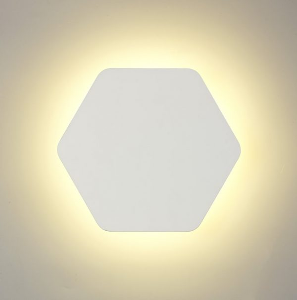 Lichfield Lighting Maxwell Magnetic Base Wall Lamp, 12W LED 3000K 498lm, 20/19cm Horizontal Hexagonal Centre, Sand White/Acrylic Frosted Diffuser photo 3