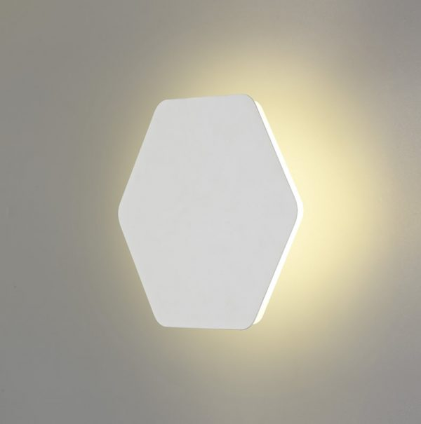 Lichfield Lighting Maxwell Magnetic Base Wall Lamp, 12W LED 3000K 498lm, 20/19cm Horizontal Hexagonal Centre, Sand White/Acrylic Frosted Diffuser photo 1
