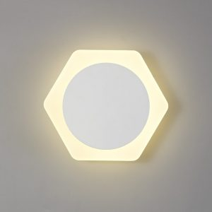 Lichfield Lighting Maxwell Magnetic Base Wall Lamp, 12W LED 3000K 498lm, 15cm Round 19cm Horizontal Hexagonal Centre, Sand White/Acrylic Frosted Diffuser photo 1