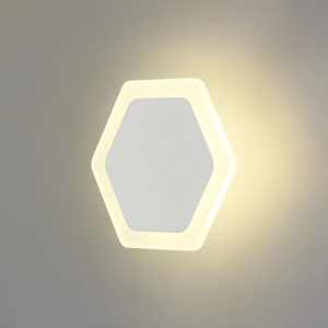 Lichfield Lighting Maxwell Magnetic Base Wall Lamp, 12W LED 3000K 498lm, 15/19cm Horizontal Hexagonal Centre, Sand White/Acrylic Frosted Diffuser photo 1