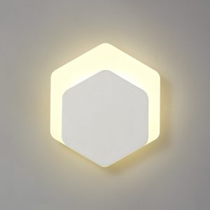 Lichfield Lighting Maxwell Magnetic Base Wall Lamp, 12W LED 3000K 498lm, 15/19cm Vertical Hexagonal Bottom Offset, Sand White/Acrylic Frosted Diffuser photo 1