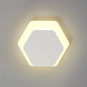 Lichfield Lighting Maxwell Magnetic Base Wall Lamp, 12W LED 3000K 498lm, 15/19cm Horizontal Hexagonal Bottom Offset, Sand White/Acrylic Frosted Diffuser photo 1