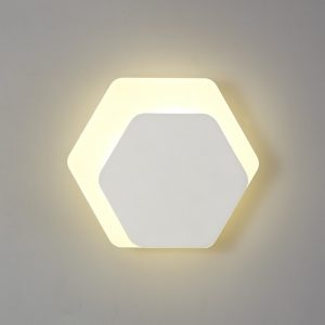 Lichfield Lighting Maxwell Magnetic Base Wall Lamp, 12W LED 3000K 498lm, 15/19cm Horizontal Hexagonal Right Offset, Sand White/Acrylic Frosted Diffuser photo 1