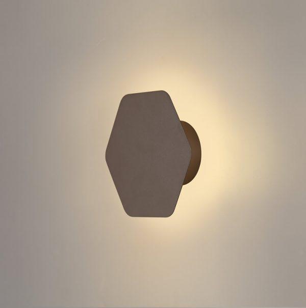 Lichfield Lighting Maxwell Magnetic Base Wall Lamp, 12W LED 3000K 498lm, 15cm Horizontal Hexagonal, Coffee photo 1