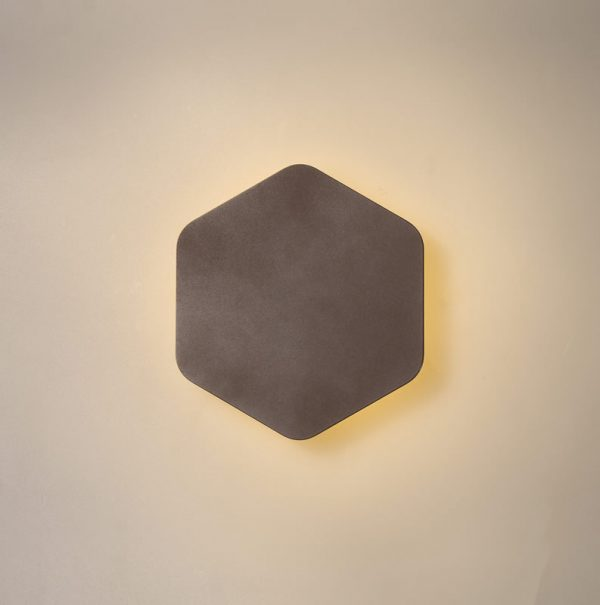 Lichfield Lighting Maxwell Magnetic Base Wall Lamp, 12W LED 3000K 498lm, 15cm Vertical Hexagonal, Coffee photo 1
